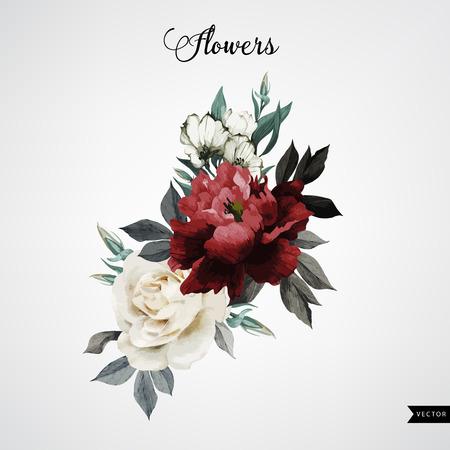 Boeket rozen, aquarel, kan worden gebruikt als wenskaart, uitnodigingskaart voor huwelijk, verjaardag en andere vakantie en zomer achtergrond. Vector. Stockfoto - 42138588