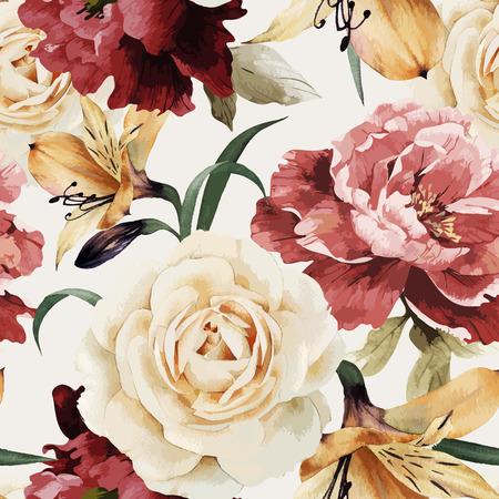 Сбор винограда: Бесшовные цветочный узор с розами, акварели. Векторная иллюстрация.