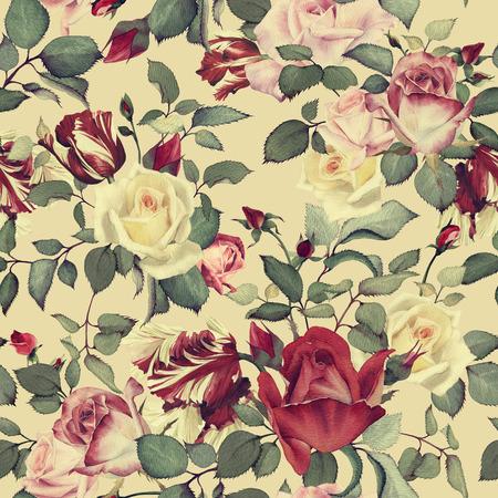 Naadloos bloemenpatroon met rozen, aquarel Stockfoto - 42138802