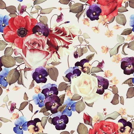 Sin fisuras patrón floral con rosas, acuarela Foto de archivo - 42138805