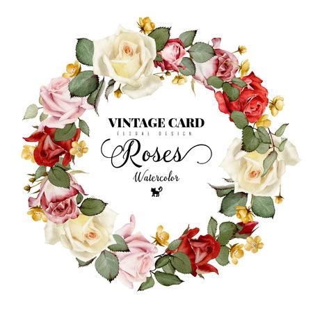 水彩、バラの花輪は、グリーティング カード、結婚式、誕生日および他の休日や夏の背景の招待状としても使えます。 写真素材