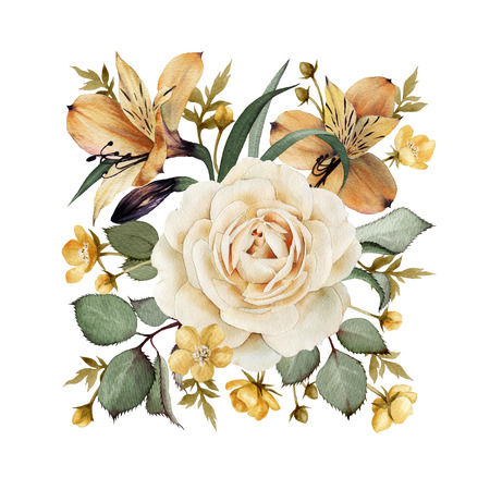 Üdvözlőlap rózsák, akvarell, lehet használni, mint meghívók esküvői, születésnapi és egyéb szabadidős és nyári háttér.