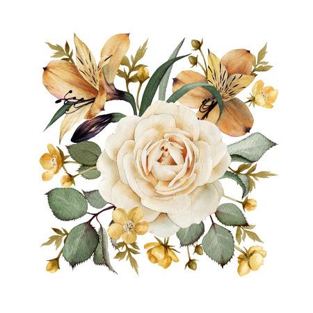 rosas blancas: Tarjeta de felicitación con rosas, acuarela, se puede utilizar como tarjeta de invitación para la boda, cumpleaños y otro día de fiesta y el fondo de verano.