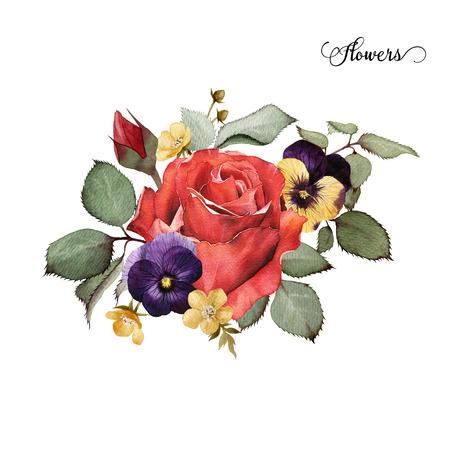 水彩、バラの花束は、グリーティング カード、結婚式、誕生日および他の休日や夏の背景の招待状としても使えます。