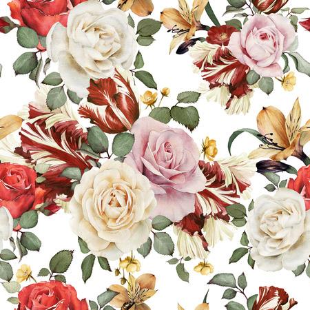 장미와 원활한 플로랄 패턴, 수채화