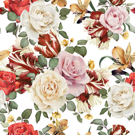 rose: Seamless floral pattern with roses, watercolor