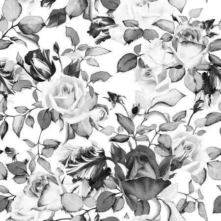 Naadloos bloemenpatroon met rozen, aquarel Stockfoto