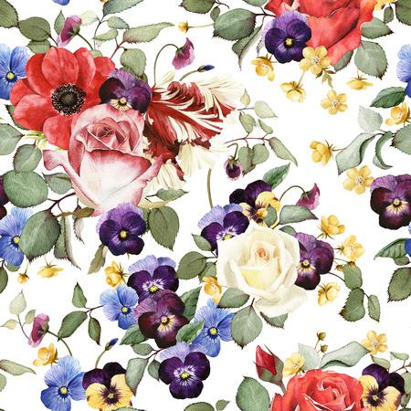 motif floral: Seamless floral pattern avec des roses, aquarelle Banque d'images