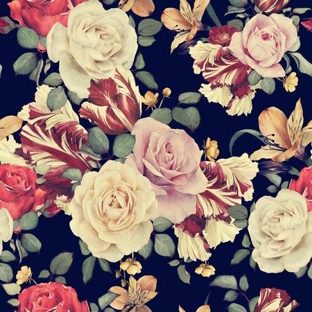 abstrakte muster: Nahtloses Blumenmuster mit Rosen, Aquarell Lizenzfreie Bilder