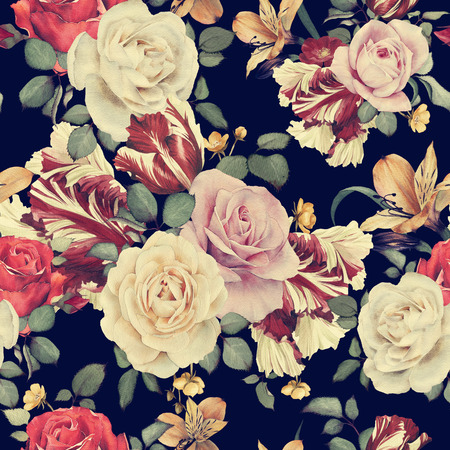 flower arrangement: Seamless floral pattern with roses, watercolor
