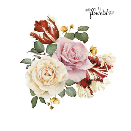 Bouquet of roses, watercolor, can be used as greeting card, invitation card for wedding, birthday and other holiday and  summer background. Foto de archivo