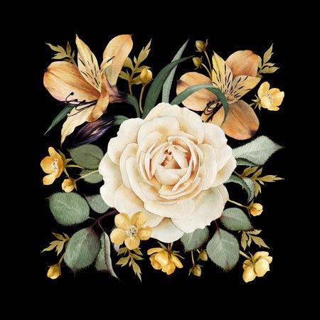 Wenskaart met rozen, waterverf, kan worden gebruikt als uitnodigingskaart voor huwelijk, verjaardag en andere vakantie en zomer achtergrond.