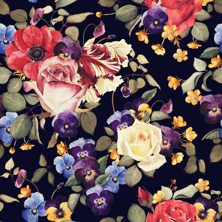 Seamless floral pattern with roses, watercolor