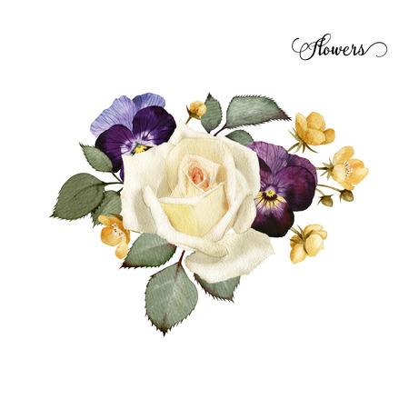 Ramo de rosas, acuarela, se puede utilizar como tarjeta de felicitación, tarjeta de invitación para la boda, cumpleaños y otras fiestas y el verano de fondo Foto de archivo - 42138913