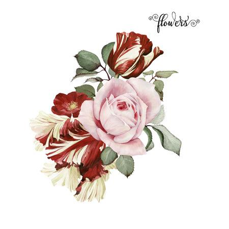 Boeket rozen, aquarel, kan worden gebruikt als wenskaart, uitnodigingskaart voor huwelijk, verjaardag en andere vakantie en zomer achtergrond. Stockfoto