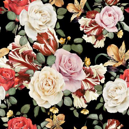 バラ、水彩でシームレス花柄 写真素材