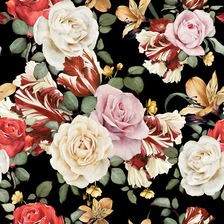 Seamless floral pattern with roses, watercolor Banco de Imagens - 42138915