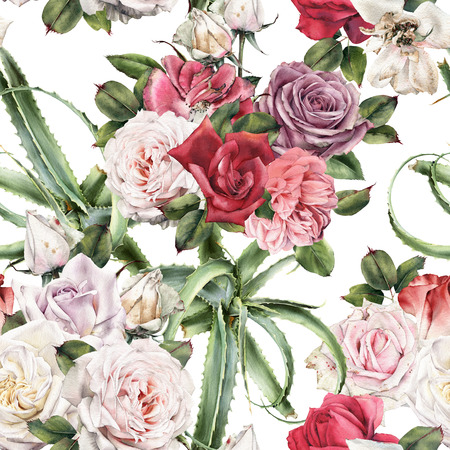 Seamless floral pattern with roses, watercolor.