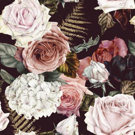 Nahtloses Blumenmuster mit Rosen, Aquarell.
