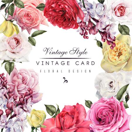 O cartão com rosas e lilás, aquarela, pode ser usado como o cartão do convite para o casamento, o aniversário e o outro feriado e fundo do verão. Foto de archivo - 90678648