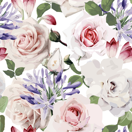 Seamless floral pattern with roses in watercolor style.