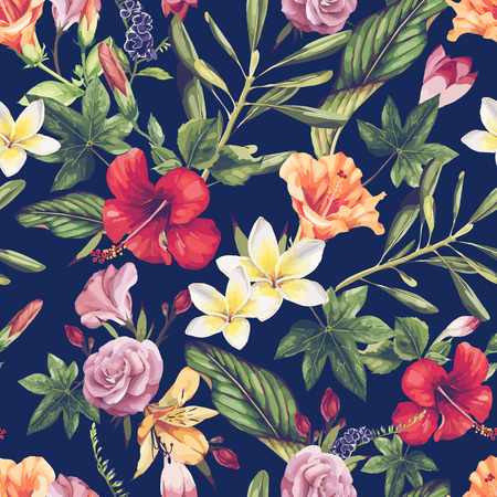 Seamless floral pattern with tropical flowers, watercolor. Vector illustration. 일러스트