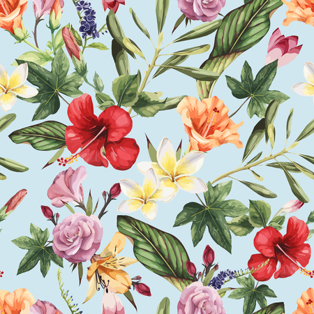Seamless floral pattern with tropical flowers, watercolor. Vector illustration. Vettoriali