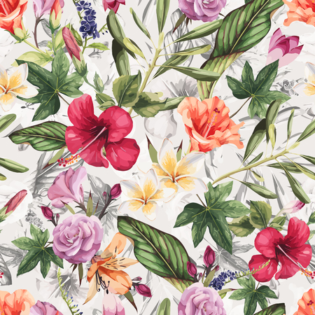 Seamless floral pattern with tropical flowers, watercolor. Vector illustration. Ilustração