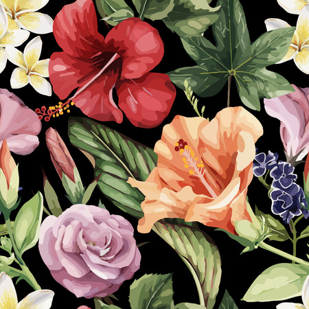 Seamless floral pattern with tropical flowers, watercolor. Vector illustration. Illusztráció