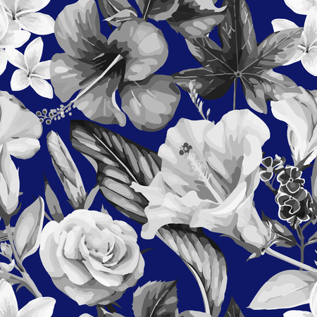 熱帯の花、水彩画とシームレスな花のパターン。ベクターの図。