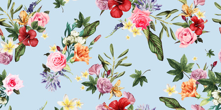 Seamless floral pattern with tropical flowers, watercolor. Vector illustration. 向量圖像
