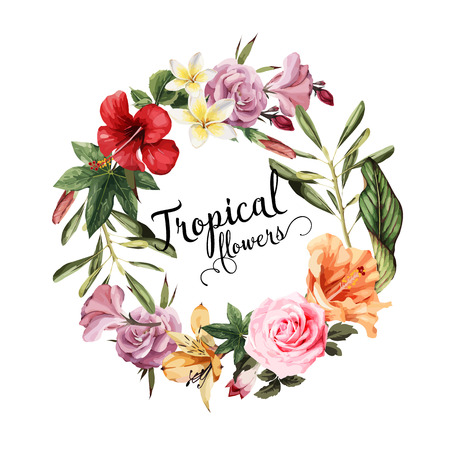 Greeting card with tropical flowers, watercolor, can be used as invitation card for wedding, birthday and other holiday and  summer background. Vector illustration. Ilustracja