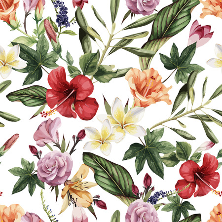 Seamless floral pattern with tropical flowers, watercolor. Vector illustration. 矢量图像