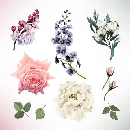 Tarjeta de felicitación con flores. vector Foto de archivo - 96114093