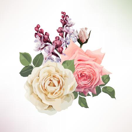 バラの花束。ベクトル。
