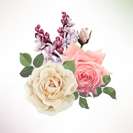 Bouquet of roses. Vector.