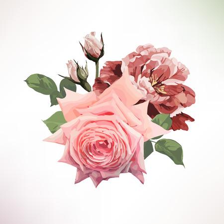 Blumenstrauß aus Rosen . Vektor Standard-Bild - 96114098