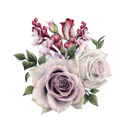 Bouquet of roses, watercolor, can be used as greeting card, invitation card for wedding, birthday and other holiday and summer background. Zdjęcie Seryjne - 96240468
