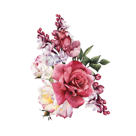 Bouquet of roses, watercolor, can be used as greeting card, invitation card for wedding, birthday and other holiday and summer background. Standard-Bild - 96192190