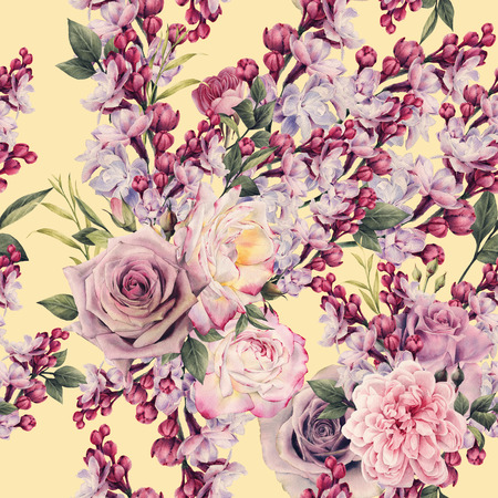 Seamless floral pattern with roses and Lilac, watercolor.