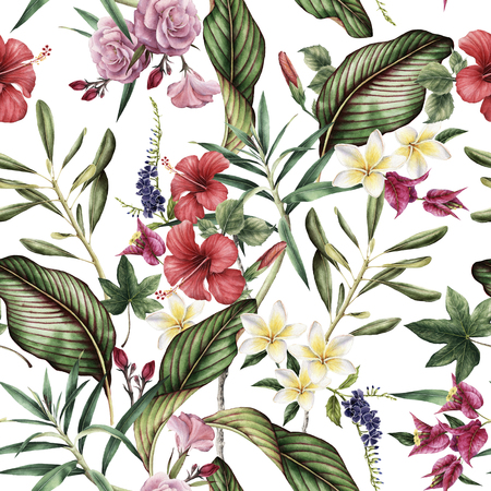 Seamless tropical flower pattern, watercolor. Banque d'images - 96741813