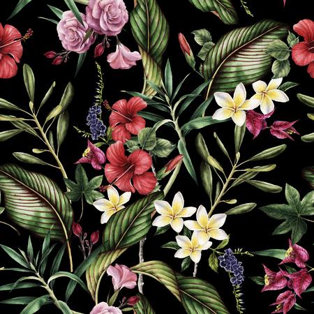 シームレスな熱帯花のパターン、水彩画。