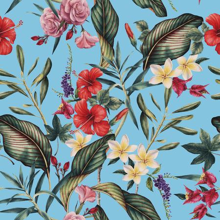Seamless tropical flower pattern, watercolor. Фото со стока - 96303361