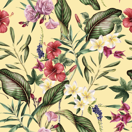 Seamless tropical flower pattern, watercolor. Stok Fotoğraf - 96264878