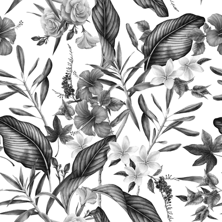 Seamless tropical flower pattern, watercolor. Stock Photo - 96303365