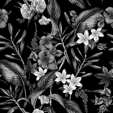 Seamless tropical flower pattern, watercolor. Фото со стока - 96264879