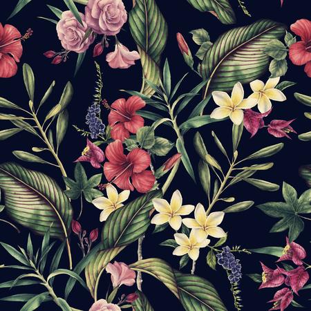 Seamless tropical flower pattern, watercolor. Stok Fotoğraf - 96277844