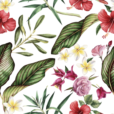 Seamless tropical flower pattern. 免版税图像