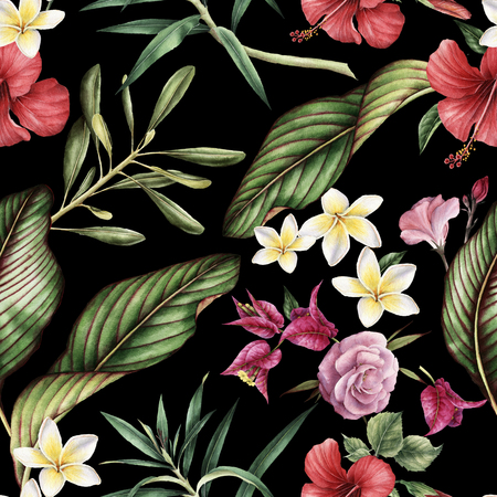 Seamless tropical flower pattern. Stok Fotoğraf