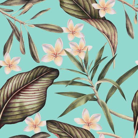 Seamless tropical flower pattern, watercolor. Banco de Imagens - 96264880